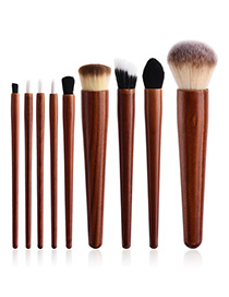 Fashion Brown Color-matching Decorated Brushes (9pcs)