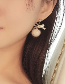 Fashion Beige Bowknot Shape Decorated Earrings