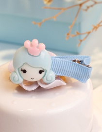 Fashion Blue Girl Shape Decorated Hair Clip