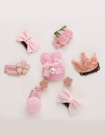 Fashion Pink Crown&flower Shape Decorated Hair Clip(9 Pcs )