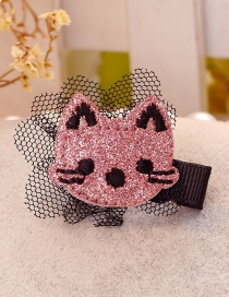 Cute Pink Cat Shape Decorated Hair Clip