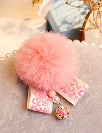 Fashion Pink Fuzzy Ball Decorated Pom Hair Clip