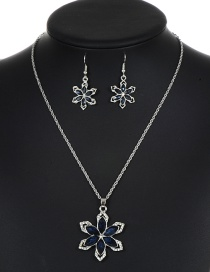 Elegant Navy Flower Shape Decorated Jewelry Sets
