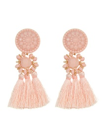 Lovely Pink Tassel Decorated Earrings