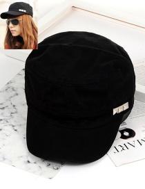 Fashion Black Pure Color Decorated Cap