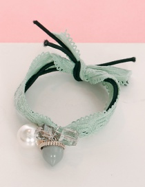 Lovely Light Green Pearls&diamond Decorated Lace Hair Band