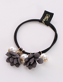 Fashion Dark Gray Three Flowers Shape Decorated Hair Band