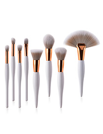Fashion White Sector Shape Decorated Makeup Brush ( 8 Pcs)