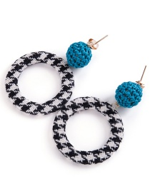 Fashion Blue Grid Pattern Decorated Earrings
