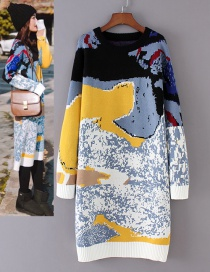 Fashion Blue+yellow Painting Pattern Decorated Sweater