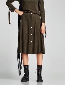 Fashion Olive Green Button Decorated Skirt