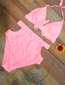 Fashion Pink Pure Color Decorated Swimwear