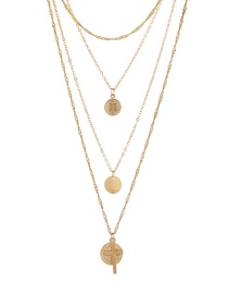 Bohemia Gold Color Pure Color Decorated Multilayer Necklace