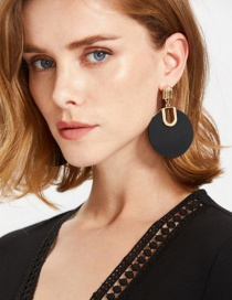 Personlity Black Round Shape Decorated Earrings