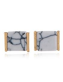 Elagent White Square Shape Decorated Earrings