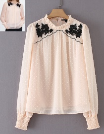 Elegant Pink Embroidery Flower Decorated Blouse