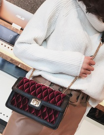Fashion Claret Red Rhombus Pattern Decorated Shoulder Bag