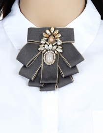 Fashion Gray+white Bowknot Shape Design Simple Brooch