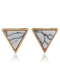Fashion Gold Color+white Triangle Shape Decorated Earrings