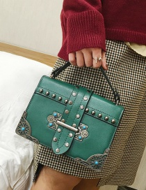 Fashion Green Rivets Decorated Square Shape Shoulder Bag