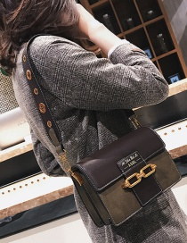 Fashion Green Double Buckle Decorated Shoulder Bag