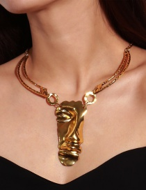 Exaggerated Gold Color Pure Color Decorated Double Layer Necklace
