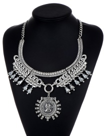Fashion Silver Color Diamond Decorated Multi-layer Necklace