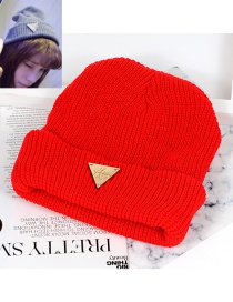 Trendy Red Triangle Shape Decorated Pure Color Cap