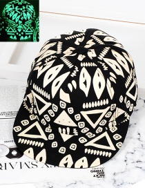 Trendy Black Geometric Shape Pattern Decorated Hip-hop Cap