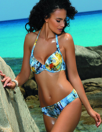 Sexy Multi-color Graffiti Pattern Decorated Swimwear