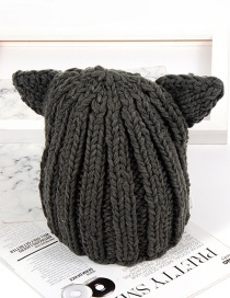 Fashion Gray Ear Shape Decorated Hat