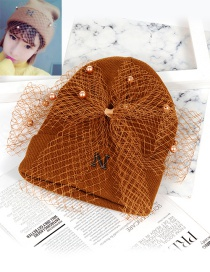 Fashion Coffee Bowknot Shape Decorated Hat