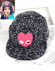 Lovely Gray Heart Shape Decorated Hat