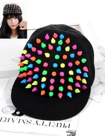 Fashion Multi-color Rivet Decorated Hat