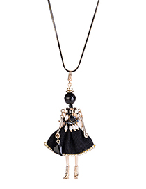 Fashion Black Ballerina Girl Decorated Long Necklace