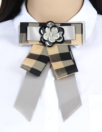 Fashion Gray Grid Pattern Decorated Bowknot Brooch