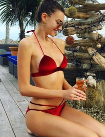 Sexy Red Pure Color Decorated Simple Swimwear
