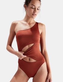Sexy Orange Pure Color Design One-shoulder Swimwear
