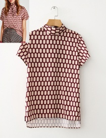 Fashion Red Oval Shape Decorated Shirt