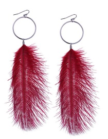Fashion Claret-red Feather Shape Decorated Earrings