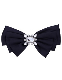 Elegant Black Square Shape Decorated Bowknot Brooch