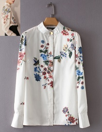 Fashion White Flower Shape Decorated Shirt