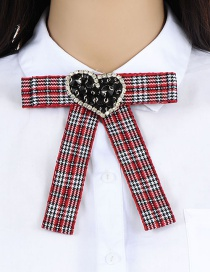 Fashion Red Heart Shape Decorated Brooch