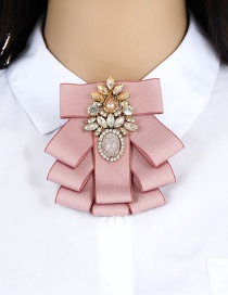 Fashion Pink Oval Shape Decorated Brooch
