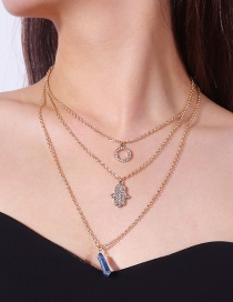 Personality Gold Color Palm Shape Decorated Multilayer Necklace