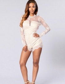 Sexy White Lace Shape Decorated Jumpsuits