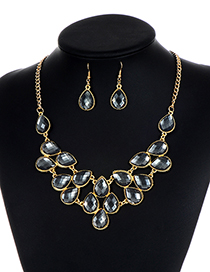 Fashion Dark Gray Waterdrop Shape Diamond Decorated Jewelry Set