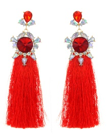 Bohemia Red Round Shape Decorated Earrings