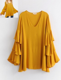 Fashion Yellow Pure Color Decorated Blouse