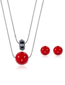 Fashion Red Round Shape Decorated Jewelry Sets(2pcs)